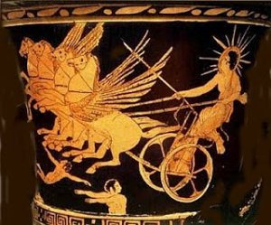 Helios, the Greek sun god, drawn across the sky by winged horses