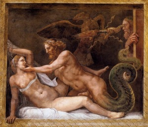 Jupiter (Zeus) seducing Olimpias, painting by Giulio Romano (16th cent.)